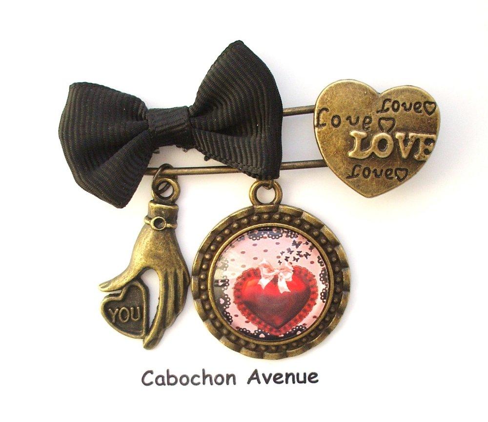 Bijou fantaisie SAINT-VALENTIN Love amour chérie coeurs bijou de sac bronze cabochon verre idée cadeau SAINT-VALENTIN fête des amoureux
