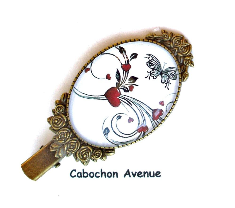 Bijou fantaisie ST-VALENTIN Love amour chérie coeur barrette accessoire cheveux bronze cabochon verre cadeau SAINT-VALENTIN fête amoureux
