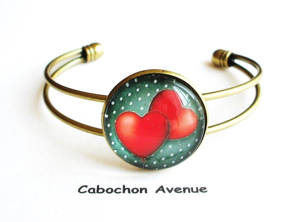 Bijou de sac fantaisie SAINT-VALENTIN Love amour chérie coeurs porte-clés bronze cabochon verre idée cadeau SAINT-VALENTIN fête amoureux