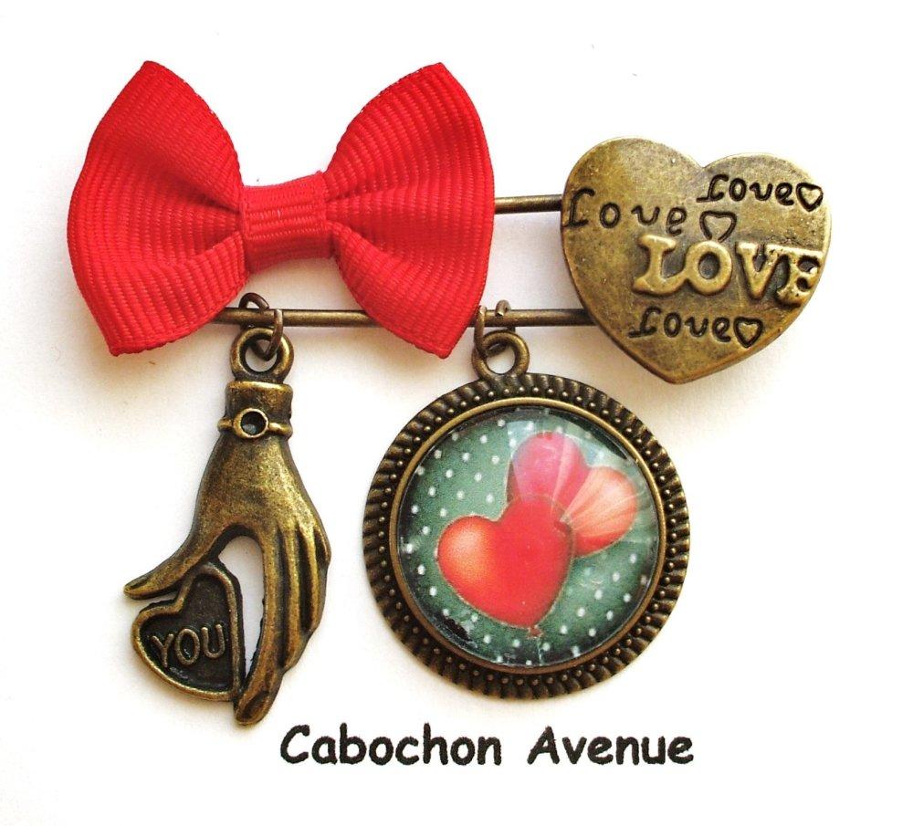 Bijou fantaisie SAINT-VALENTIN Love amour chérie coeur collier pendentif bronze cabochon verre idée cadeau SAINT-VALENTIN fête amoureux