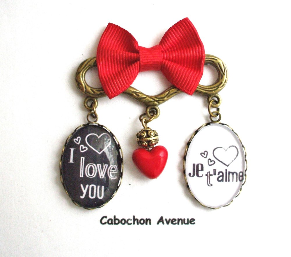 Bijou fantaisie SAINT-VALENTIN Love amour chérie coeur boucle d'oreille pendante bronze cabochon verre cadeau SAINT-VALENTIN fête amoureux