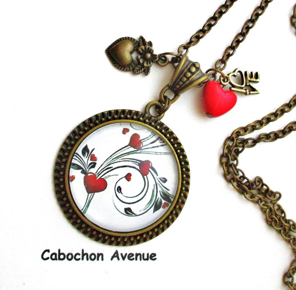 Bijou fantaisie SAINT-VALENTIN Love amour chérie coeurs collier pendentif bronze cabochon verre idée cadeau SAINT-VALENTIN fête amoureux