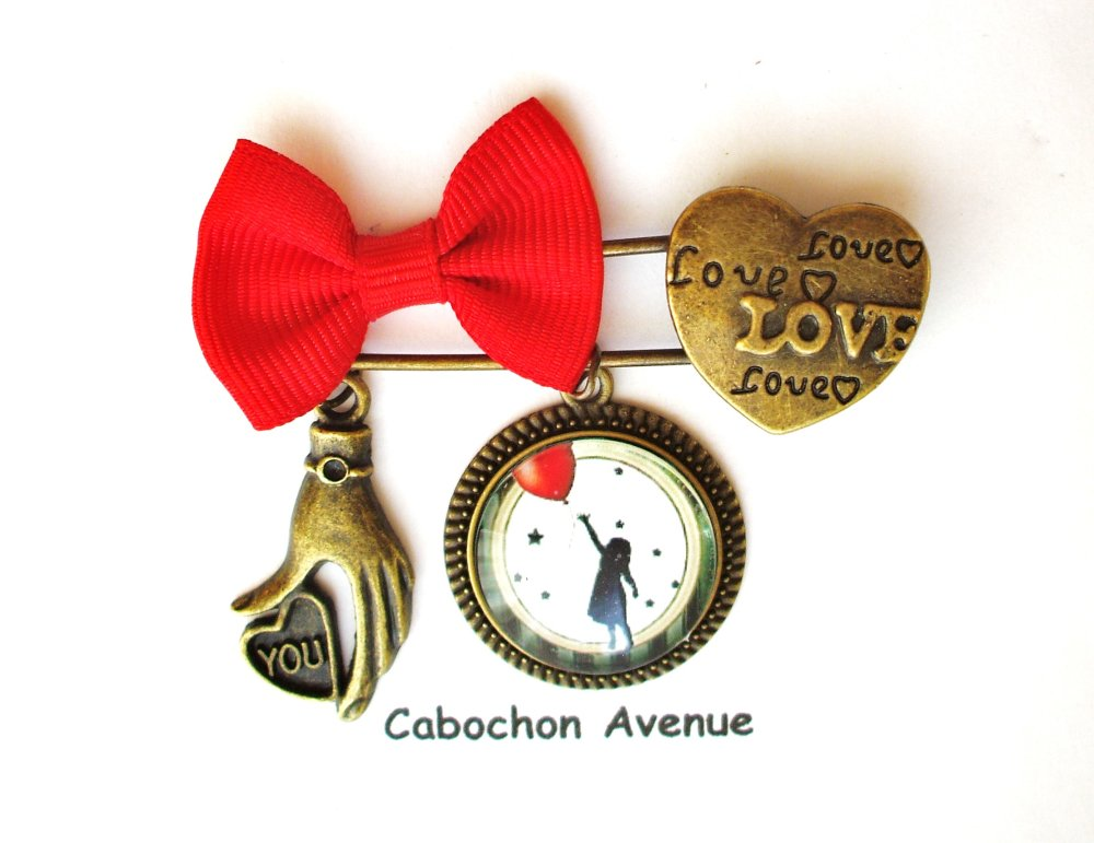 Bijou fantaisie SAINT-VALENTIN Love amour chérie coeur bracelet bronze tissu cabochon verre idée cadeau SAINT-VALENTIN fête amoureux