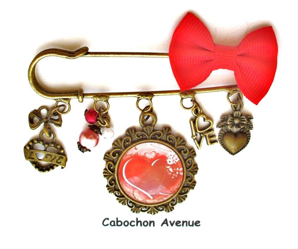 Bijou fantaisie SAINT-VALENTIN Love amour chérie coeur broche épingle bronze cabochon verre idée cadeau SAINT-VALENTIN fête des amoureux