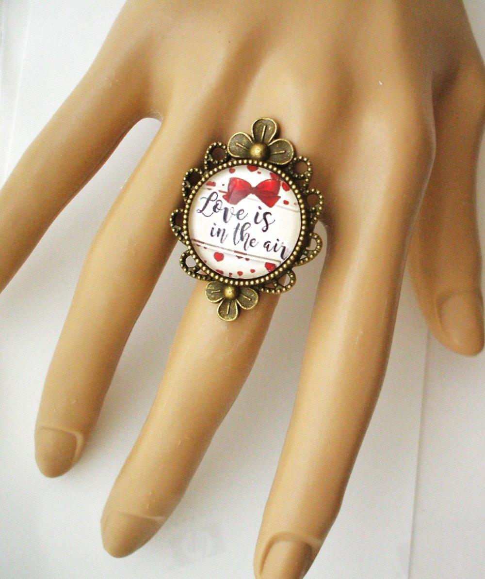Bijou fantaisie SAINT-VALENTIN Love amour chérie coeur marque-pages bronze cabochon verre idée cadeau SAINT-VALENTIN fête des amoureux