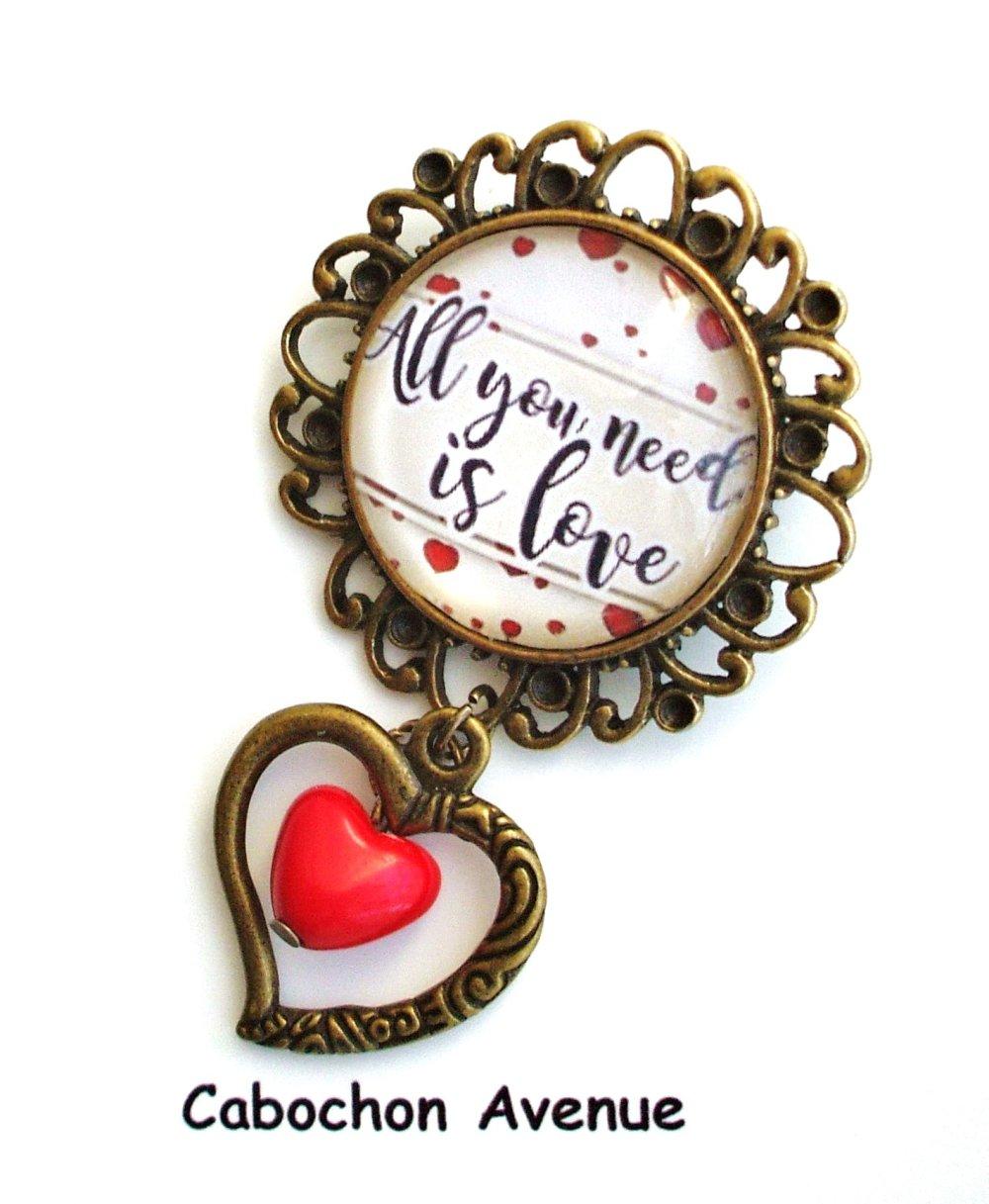 Bijou fantaisie SAINT-VALENTIN Love amour chérie coeur porte-clés bronze cabochon verre idée cadeau SAINT-VALENTIN fête des amoureux