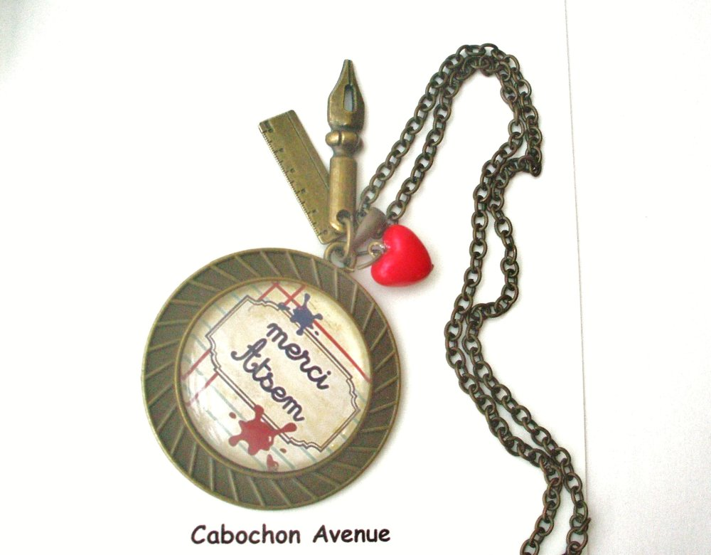 Bracelet Merci ATSEM Bijou fantaisie cabochons ATSEM Idée cadeau fin d'année cadeau Atsem accessoire bronze verre
