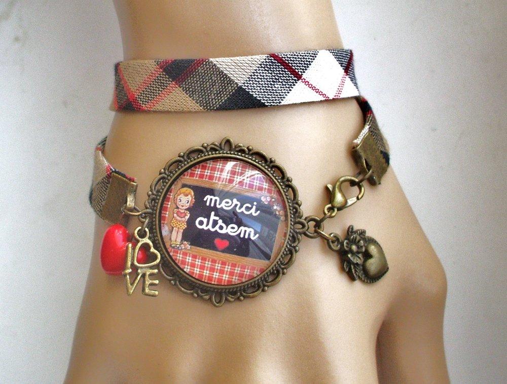Bijou de sac Merci ATSEM Bijou fantaisie cabochon ATSEM Idée cadeau fin d'année cadeau Atsem accessoire bronze verre