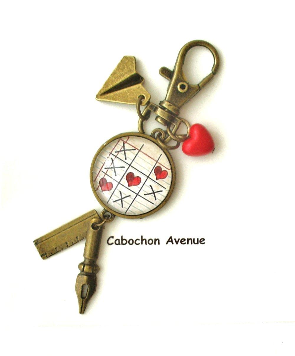 Porte-clés bijou de sac fantaisie ATSEM école écriture cabochon ATSEM cadeau fin d'année cadeau atsem accessoire bronze verre
