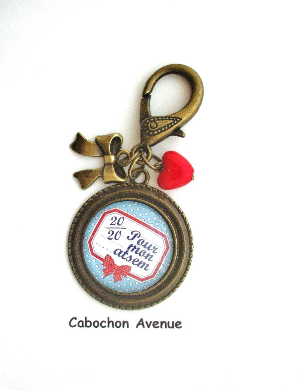Bijou de sac 20/20 pour mon ATSEM Bijou fantaisie cabochon ATSEM Idée cadeau fin d'année cadeau Atsem accessoire bronze verre