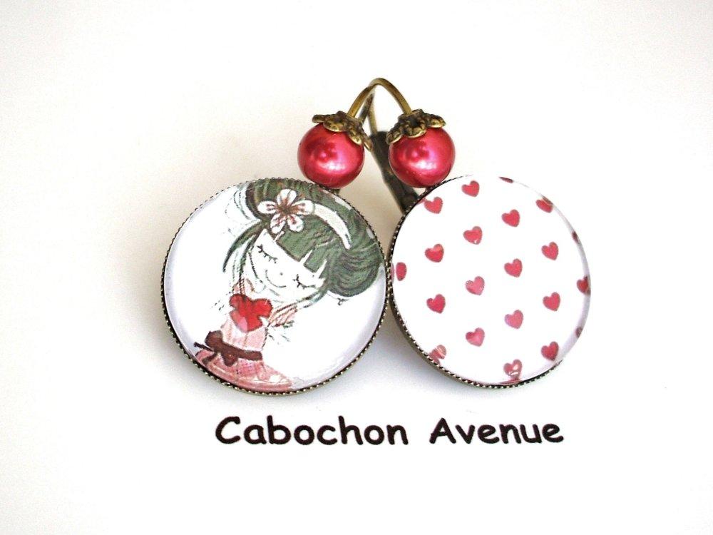 Bracelet jonc NOUNOU ATSEM AVS Bijou fantaisie cabochon Nounou Atsem Avs cadeau fin d'année cadeau Nounou Atsem Avs accessoire bronze verre