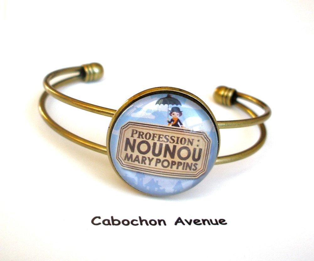 Bracelet jonc NOUNOU Mary Poppins Bijou fantaisie cabochon NOUNOU idée cadeau fin d'année cadeau Nounou accessoire bronze verre