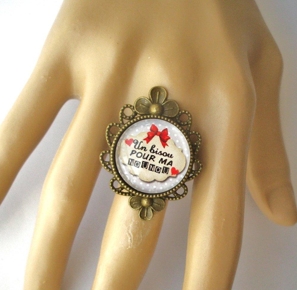 Bracelet BISOU pour ma NOUNOU biais Bijou fantaisie cabochon NOUNOU idée cadeau fin d'année cadeau Nounou accessoire bronze verre