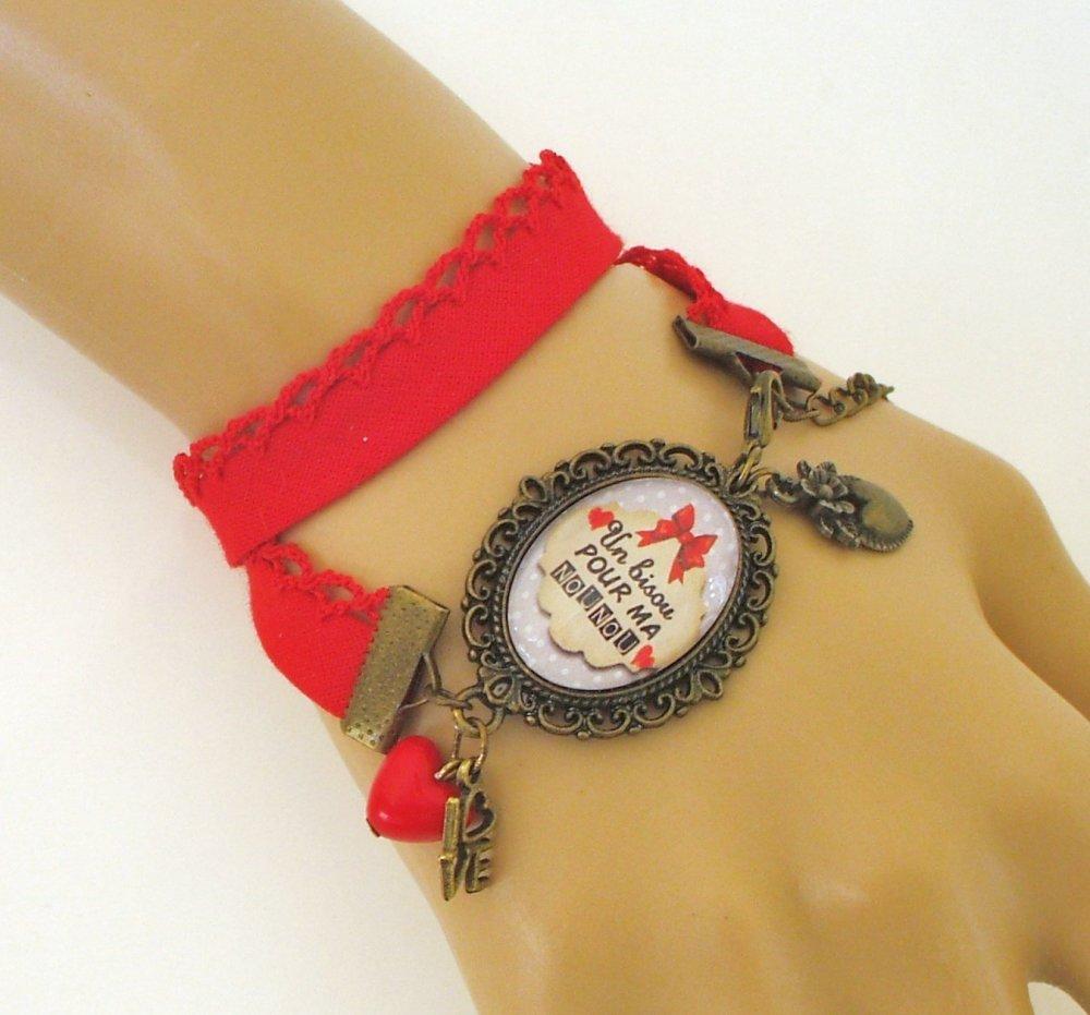 Collier pendentif BISOU pour ma NOUNOU biais Bijou fantaisie cabochon NOUNOU idée cadeau fin d'année cadeau Nounou accessoire bronze verre
