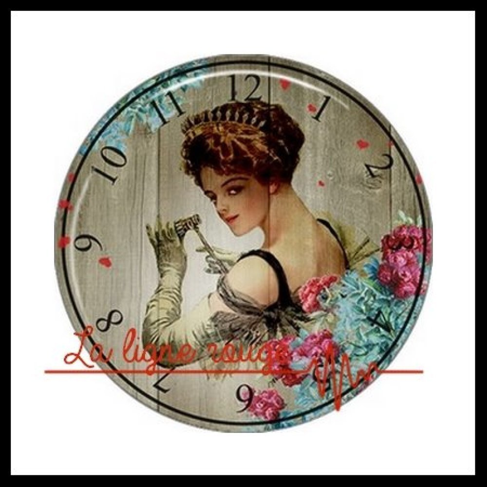 Cabochon rond à coller résine 25 mm - Cadran Vintage ( 3479 ) - Horloge, Montre