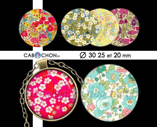 Les Libertys lll ☆ 45 Images Digitales RONDES 30 25 et 20 mm liberty london fleur fleurs romantique cabochon bijoux badge miroir