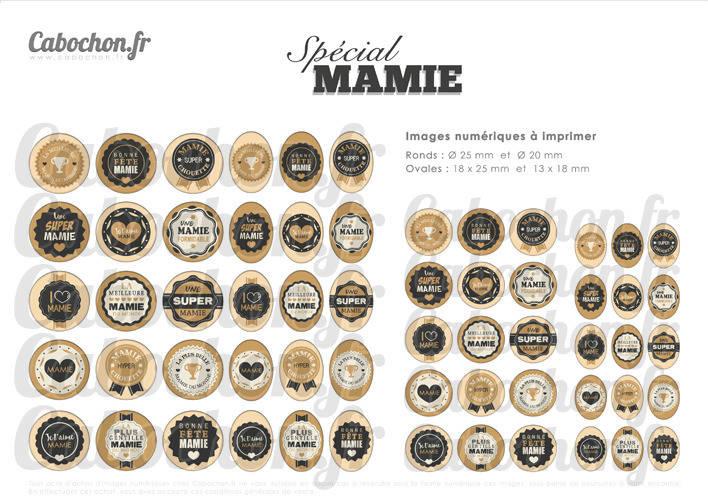 Spécial Mamie ll ☆ 60 Images Digitales Numériques RONDES 25 et 20 mm OVALES 18x25 et 13x18 mm mami mamy fete super Page cabochons