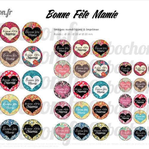 Bonne Fête Mamie Vl 45 Images Digitales Rondes 30 25 Et 20 Mm Mami Mamy Meme Grand Mere Coeur Page Cabochon Bijoux