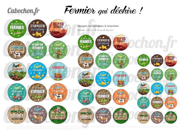 Fermier qui déchire ! ☆ 45 Images Digitales RONDES 30 25 et 20 mm ferme agriculteur tracteur vache cabochons