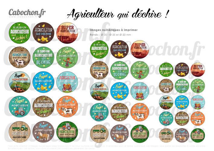 Agriculteur qui déchire ! ☆ 45 Images Digitales RONDES 30 25 et 20 mm ferme fermier tracteur vache poule cabochon page porte clé
