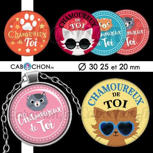 Chamoureux de toi ☆ 45 images digitales rondes 30 25 et 20 mm chat saint valentin amour page d'images cabochons