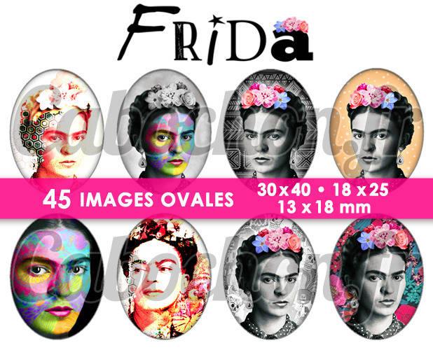 Frida ☆ 45 Images Digitales Numériques OVALES 30x40 18x25 et 13x18 mm Page cabochons