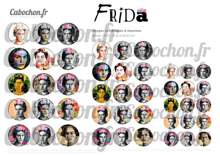 Frida ☆ 45 Images Digitales Numériques RONDES 30 25 et 20 mm Page de collage digital pour cabochons badges miroirs bijoux