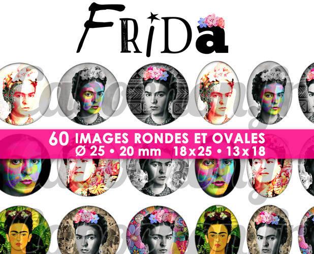 Frida ☆ 60 Images Digitales Numériques RONDES 25 et 20 mm et OVALES 18x25 et 13x18 mm Page d'images pour cabochons