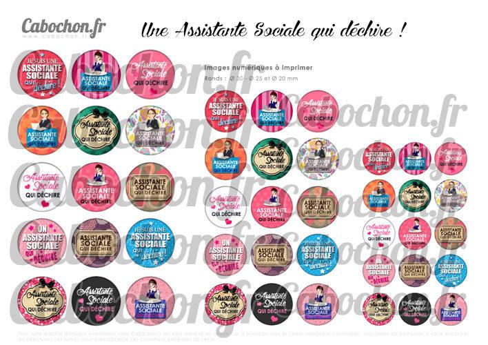 Assistante Sociale qui déchire ! ☆ 45 Images Digitales Numériques RONDES 30 25 et 20 mm Page de collage digital pour cabochons