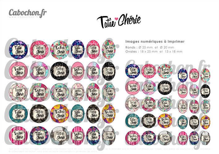 Tatie Chérie ☆ 60 Images Digitales / Numériques RONDES 25 et 20 mm et OVALES 18x25 et 13x18 mm Page d'images cabochons