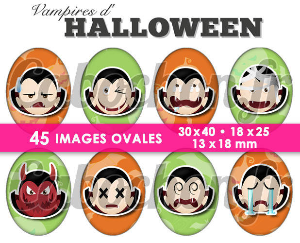 Vampires d'Halloween ☆ 45 Images Digitales Numériques OVALES 30x40 18x25 et 13x18 mm Page cabochons