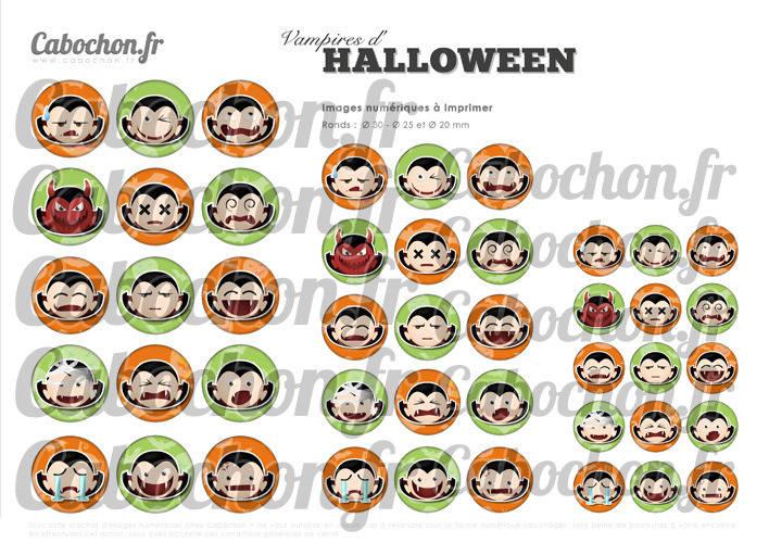 Vampires d'Halloween ☆ 45 Images Digitales Numériques RONDES 30 25 et 20 mm Page de collage digital pour cabochons
