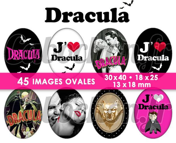 Dracula  ☆ 45 Images Digitales Numériques OVALES 30x40 18x25 et 13x18 mm Page cabochons