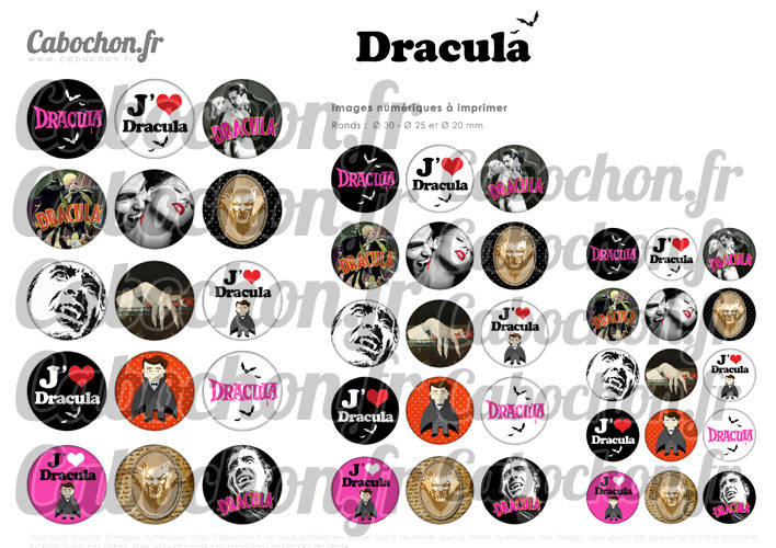 Dracula  ☆ 45 Images Digitales Numériques RONDES 30 25 et 20 mm Page de collage digital pour cabochons