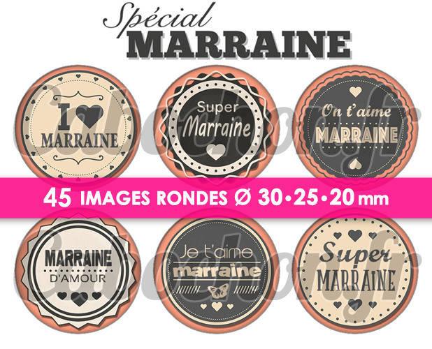 Spécial Marraine  ☆ 45 Images Digitales Numériques RONDES 30 25 et 20 mm Page de collage digital pour cabochons