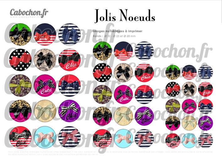 Jolis Noeuds ☆ 45 Images Digitales Numériques RONDES 30 25 et 20 mm Page de collage digital pour cabochons