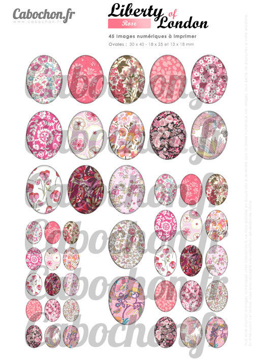Liberty of London - Rose ☆ 45 Images Digitales Numériques OVALES 30x40 18x25 et 13x18 mm Page cabochons