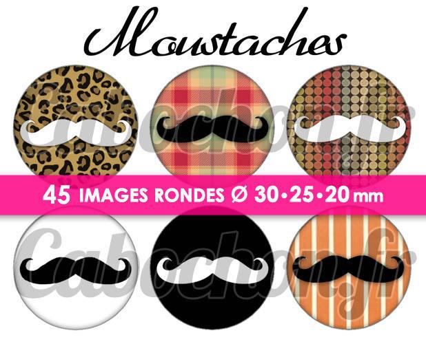 Moustaches ll  ☆ 45 Images Digitales Numériques RONDES 30 25 et 20 mm Page de collage digital pour cabochons