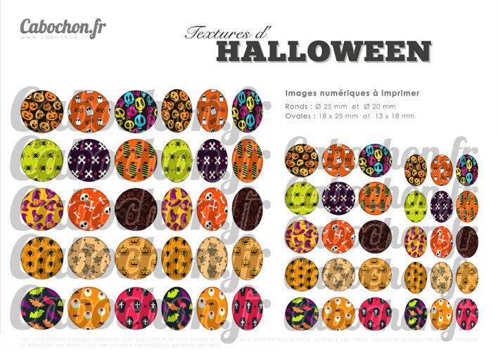 Textures d'Halloween  ☆ 60 Images Digitales Numériques RONDES 25 et 20 mm et OVALES 18x25 et 13x18 mm Page d'images pour cabochons