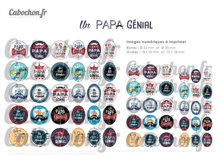Un Papa Génial ☆ 60 Images Digitales Numériques RONDES 25 et 20 mm et OVALES 18x25 et 13x18 mm Page d'images pour cabochons