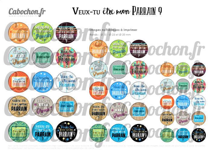 Veux-tu être mon Parrain ? ll ☆ 45 Images Digitales Numériques RONDES 30 25 et 20 mm Page de collage digital pour cabochons