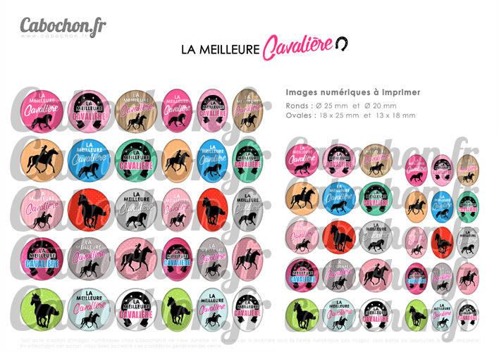 La Meilleure Cavalière ☆ 60 Images Digitales Numériques RONDES 25 et 20 mm et OVALES 18x25 et 13x18 mm Page d'images pour cabochons