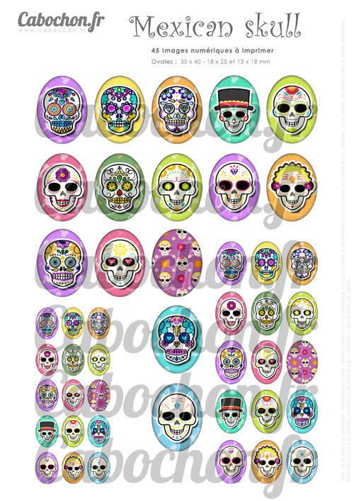 Mexican Skull lV ☆ 45 Images Digitales Numériques OVALES 30x40 18x25 et 13x18 mm Page cabochons