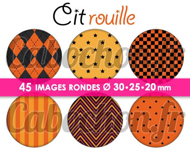 ° Citrouille ☆ 45 Images Digitales Numériques RONDES 30 25 et 20 mm Page de collage digital pour cabochons