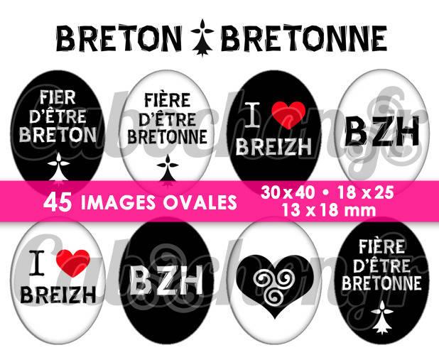 Breton • Bretonne ☆ 45 Images Digitales Numériques OVALES 30x40 18x25 et 13x18 mm Page cabochons