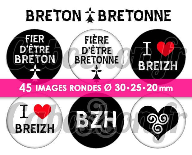 Breton • Bretonne ☆ 45 Images Digitales Numériques RONDES 30 25 et 20 mm Page de collage digital pour cabochons