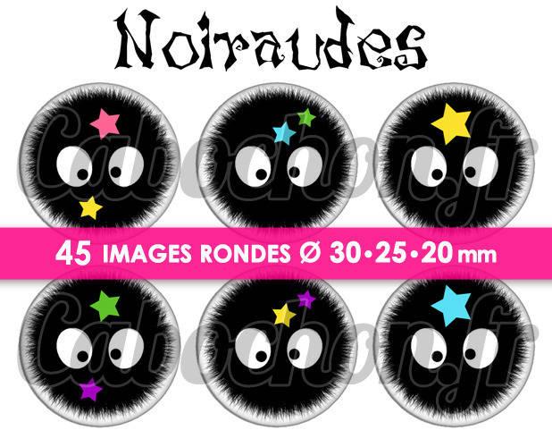 Noiraudes ☆ 45 Images Digitales Numériques RONDES 30 25 et 20 mm Page de collage digital pour cabochons