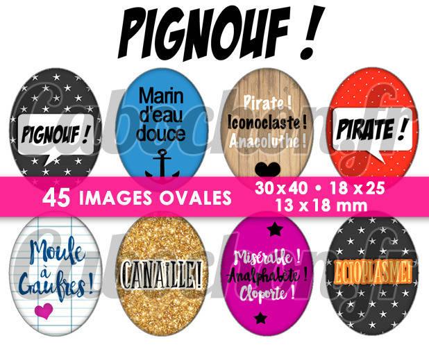 Pignouf ! ☆ 45 Images Digitales Numériques OVALES 30x40 18x25 et 13x18 mm Page cabochons