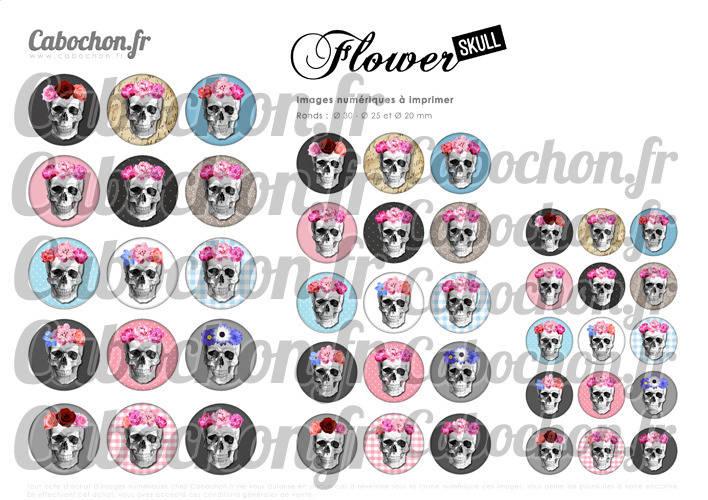Flower Skull ☆ 45 Images Digitales Numériques RONDES 30 25 et 20 mm Page de collage digital pour cabochons