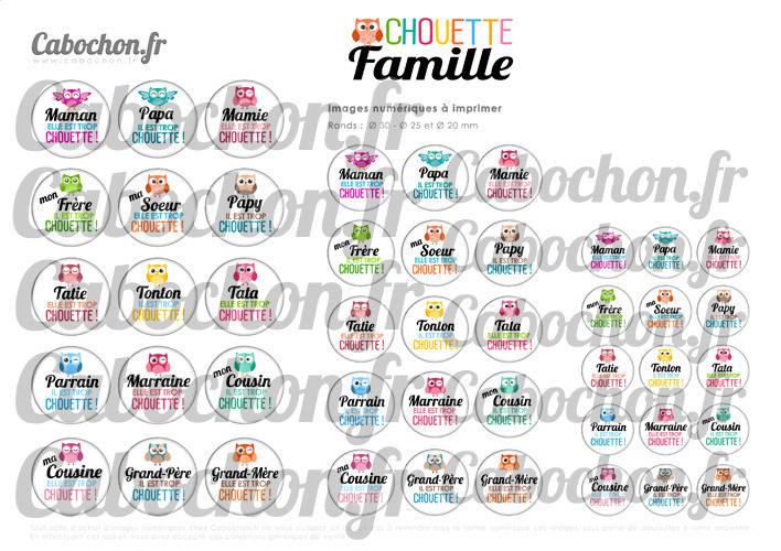 Chouette Famille ll ☆ 45 Images Digitales RONDES 30 25 et 20 mm hibou maman papa mamie tata marraine cabochons bijoux miroirs